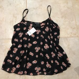 NWT Black Floral Top Medium
